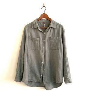 Free People Long Sleeve Button Down Gauze Shirt
